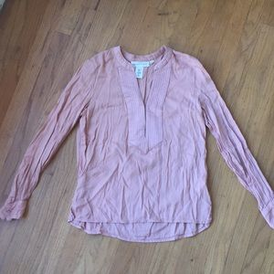 Pale pink long sleeve tunic blouse H&M